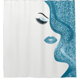 Makeup with glitter effect shower curtain