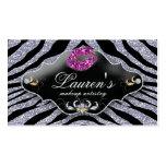 Makeup Zebra Business Card Sparkle Pink Black