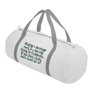 Making a marriage work is a lot like... gym duffel bag