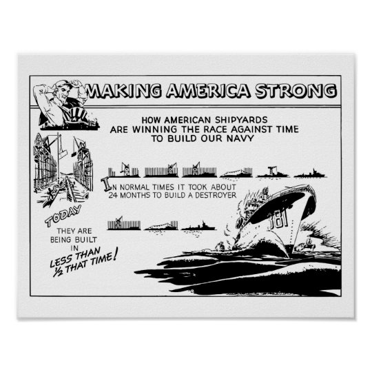 Making America Strong WW2 Cartoon Poster