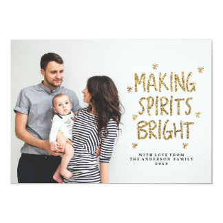 MAKING SPIRITS BRIGHT  Christmas Holiday Card 13 Cm X 18 Cm Invitation Card