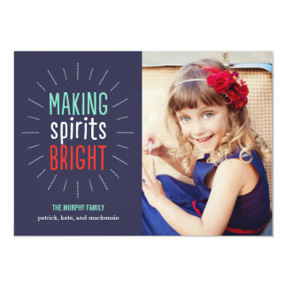 Making Spirits Bright Holiday Photo Card 13 Cm X 18 Cm Invitation Card