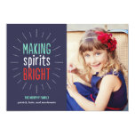 Making Spirits Bright Holiday Photo Card Personalized Invite