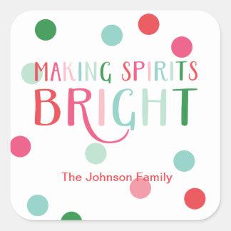 Making Spirits Bright Multi Colored Dot Holiday Square Sticker