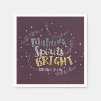 Making Spirits Bright Silver Leaves Holiday Party Disposable Napkin
