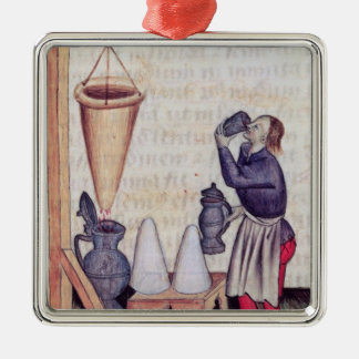 Making sugar syrup, from 'Tractatus de Herbis' Silver-Colored Square Decoration