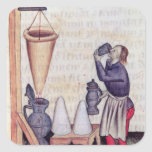 Making sugar syrup, from 'Tractatus de Herbis' Square Sticker