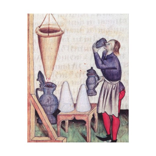 Making sugar syrup, from 'Tractatus de Herbis' Stretched Canvas Prints