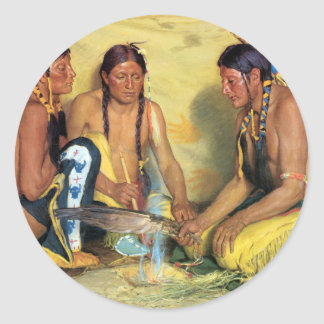 Making Sweetgrass Medicine, Blackfeet Ceremony Round Sticker