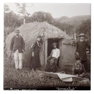 Making Tappa, a native cloth, c.1875 (sepia photo) Tile