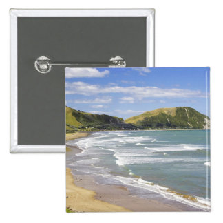 Makorori Beach near Gisborne, Eastland, New 2 15 Cm Square Badge