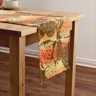 Makua Monstera Tropical Hawaiian Striped Blend Short Table Runner