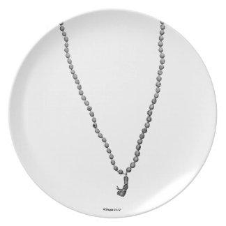 Mala Beads (Black & White) Decorative Plate