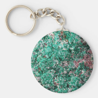 Malachite and copper basic round button key ring