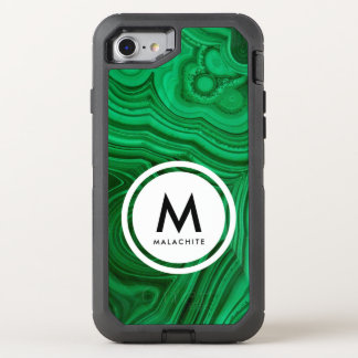 Malachite Mineral Monogram OtterBox Defender iPhone 8/7 Case