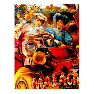 Malaga Spain Vintage Automobile Advertisement Postcard
