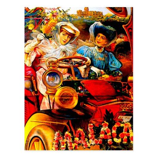Malaga Spain ~ Vintage Automobile Advertisement Postcard