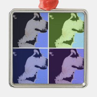 Malamute Dog Pop Art Silver-Colored Square Decoration