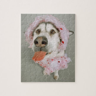 Malamute Dog Wearing a Tutu and Sticking Out Jigsaw Puzzle