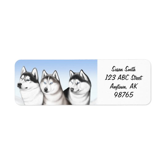 Malamute Husky Dogs Customisable Return Address Label