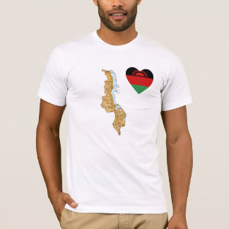 Malawi Flag Heart and Map T-Shirt