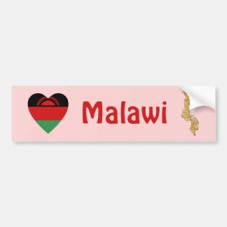 Malawi Flag Heart + Map Bumper Sticker