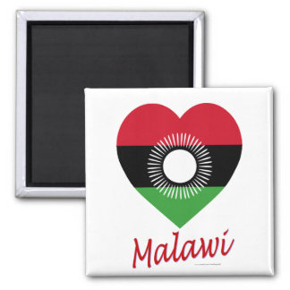 Malawi Flag Heart with Name Square Magnet