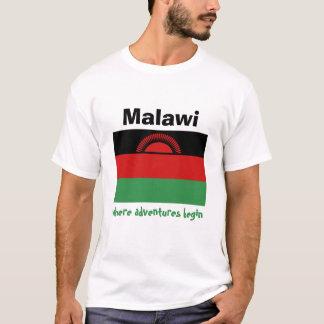 Malawi Flag + Map + Text T-Shirt