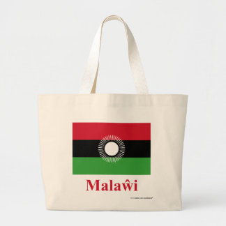 Malawi Flag with Name in Chewa Large Tote Bag