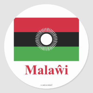 Malawi Flag with Name in Chewa Round Sticker