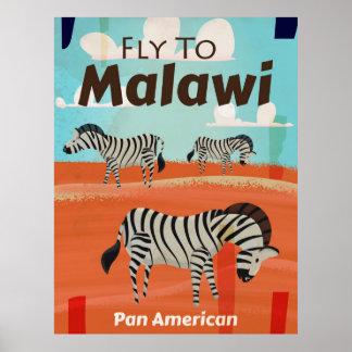 Malawi vintage travel poster