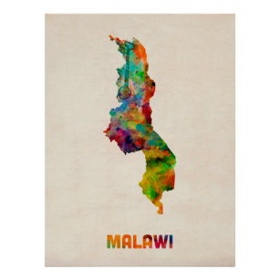 Malawi Watercolor Map Poster