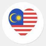 Malaysia Flag Heart Stickers