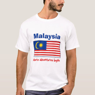 Malaysia Flag + Map + Text T-Shirt