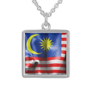 Malaysia Flag Square Pendant Necklace