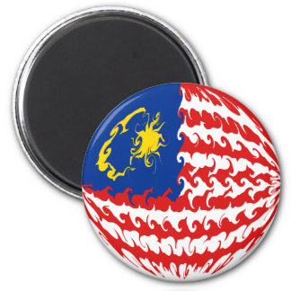 Malaysia Gnarly Flag 6 Cm Round Magnet