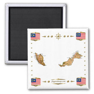 Malaysia Map + Flags Magnet