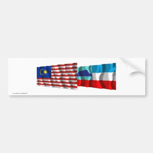 Malaysia & Sabah waving flags Bumper Stickers
