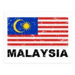 Malaysia Vintage Flag Postcard