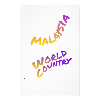Malaysia world country, colorful text art personalized stationery