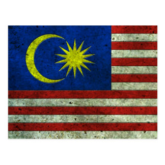 Malaysian Flag Aged Steel Effect Postcard