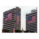 malaysian flag bldgs postcards