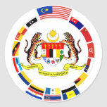 Malaysian Flags with Arms Round Sticker