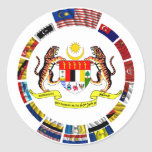 Malaysian waving flags with arms round sticker