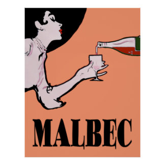 Malbec Wine Vintage Lady Posters