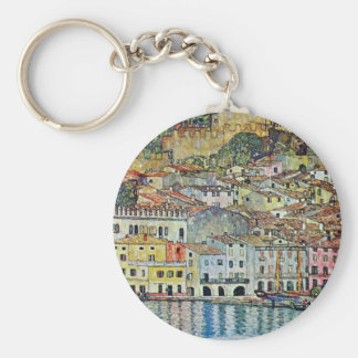 Malcesine on Lake Garda By Gustav Klimt Basic Round Button Key Ring