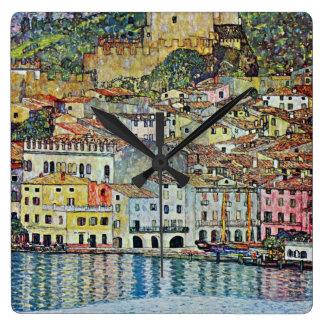 Malcesine on Lake Garda By Gustav Klimt Square Wall Clock
