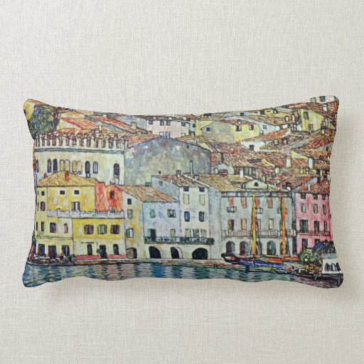 Malcesine on Lake Garda By Klimt, Art Nouveau Throw Pillow