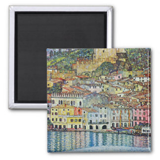 Malcesine on Lake Garda By Klimt, Art Nouveau Square Magnet