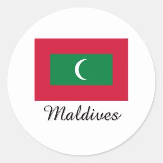 Maldives Flag Design Classic Round Sticker